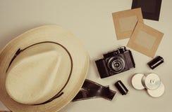 Vintage camera and photo frames Royalty Free Stock Photo