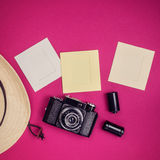 Vintage camera and photo frames Royalty Free Stock Photography