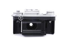 Vintage camera ready for film loading. Opened vintage  Soviet rangefinder camera, back perspective Stock Photos