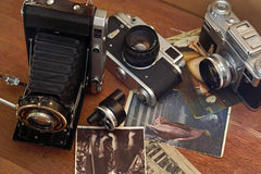 Vintage camera and retro items. In this photo vintage camera and retro items royalty free stock photo