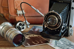 Vintage camera and retro items. In this photo vintage camera and retro items royalty free stock photos