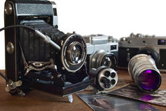 Vintage camera and retro items. In this photo vintage camera and retro items royalty free stock images