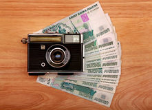 Vintage Camera And Money Royalty Free Stock Image