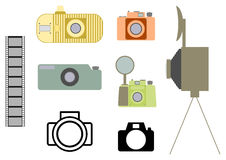 Vintage camera set Royalty Free Stock Photos