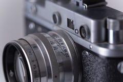 Vintage camera, soft focus. Vintage camera, focus on lenses stock photo