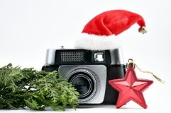 New Year of the Photographer. An old-fashioned Camera and a New stock image