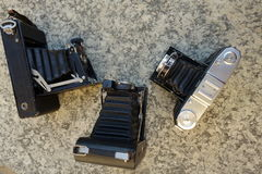 Vintage camera. Three vintage camera remembering old photos Royalty Free Stock Photo