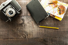 Vintage camera and travel stuff Royalty Free Stock Photography