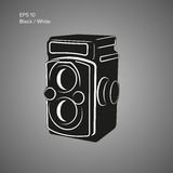 Vintage camera vector illustration. Antique photo equipment icon Royalty Free Stock Images