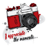 Vintage camera vector. Poster. Card. I appreciate the moments. Stock Image