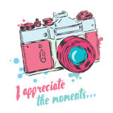 Vintage camera vector. Poster. Card. I appreciate the moments. Stock Photography