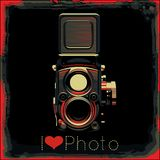 Vintage camera. Vector retro poster with colored vintage camera Royalty Free Stock Image