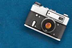 Vintage camera on velvet background Stock Photo