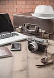Vintage camera and vintage tone, prepare accessories and travel Stock Image