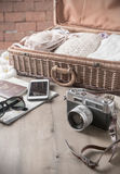 Vintage camera and vintage tone, prepare accessories and travel Royalty Free Stock Image