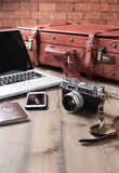 Vintage camera and vintage tone, prepare accessories and travel Stock Photos