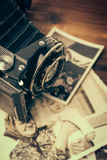 Vintage camera on wooden background Royalty Free Stock Images