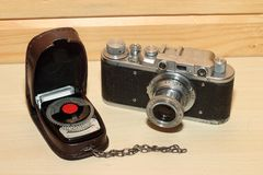 Vintage cameraand light meter Stock Images