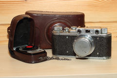 Vintage cameraand light meter Stock Image