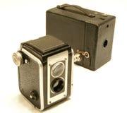 Vintage Cameras. Picture of antique cameras; Kodak Duaflex 2, No 2 cartridge hawk-eye model c Royalty Free Stock Photos