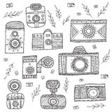 Vintage cameras in boho ethnic style with ornaments set. Stock Photo