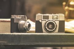 Vintage cameras. Close up view at vintage cameras Royalty Free Stock Image