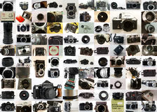 Vintage Cameras collection. 100 pictures of old analogic stuff. Nice for a poster Royalty Free Stock Photos