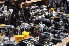 Vintage cameras DLSR in Portobello market royalty free stock images