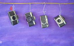 Vintage cameras, free copy space Stock Photography