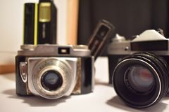 Vintage cameras have different features royalty free stock image