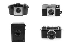Vintage cameras isolated on white Stock Photography