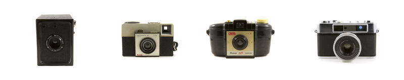 Vintage cameras isolated on white Stock Photos