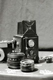 Vintage cameras and lens Stock Image