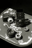 Vintage cameras and lens Stock Photos