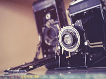 Vintage Cameras Old antique collection Royalty Free Stock Image