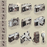 Vintage cameras set Stock Photos