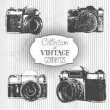 Vintage cameras. Set of hand drawn vintage cameras Stock Image