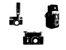 Vintage cameras sketched Stock Photos