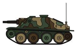 Vintage camouflaged tank destroyer. Hand drawing of a vintage color camouflaged tank destroyer Royalty Free Stock Image