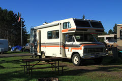 Vintage Camper In Campground Royalty Free Stock Images