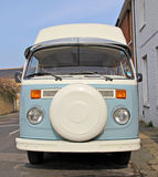Vintage camper van. Photo of a vintage volkswagon camper van in blue Stock Photos