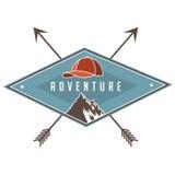 Vintage camping backpacking and hiking poster design stock illustration