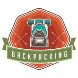 Vintage camping backpacking and hiking poster design Royalty Free Stock Photo