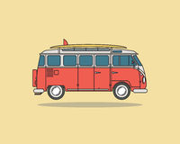 Vintage Camping Bus For Journey. Surfing Car. Royalty Free Stock Image