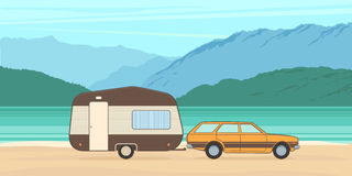 Vintage camping caravan and car. Vector Illustration vector illustration