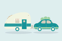 Vintage camping cars for all family. Car with trailer illustrati. On. Vector Royalty Free Stock Photography