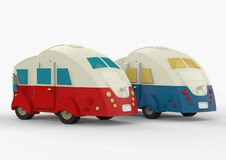 Vintage camping cars for all family. 3d render stock illustration
