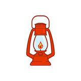 Vintage camping lantern isolated on white background. Retro gas lamp with glowing fire wick. Rustic tourist oil lantern  illustration. Old lamp for hiking Stock Images