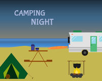 Vintage camping night concept. Retro caravan Royalty Free Stock Photos