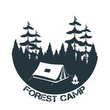 Vintage camping and outdoor adventure logo. Tent in forest. Forest camp. Vector illustration Royalty Free Stock Photo